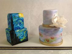 Inspired by the masters...hand painted cakes  Van Gogh - Starry Night  Monet - Water Lilies