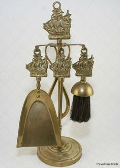 Antique British Victorian brass fireplace companion tool set sail ship decorated-   My Mum had this one!