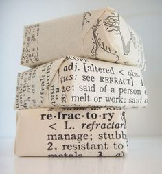 Dictionary wrapping paper.