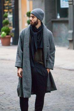 grey beanie mens street style