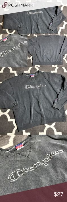 "Vintage Champion Sweatshirt Script Embroidered 2XL Vintage Champion Crewneck SpellOut Sweatshirt   Size: XXL - size is more Large.  ***** See Measurements this is a vintage item! ***** Pit to Pit: 26.5"" Length: 26""  Condition: Good vintage condition, but has been well worn!  Some wear to sleeves, and small white bleach marks on lower back.  Everything I saw is shown in photos. Champion Shirts Sweatshirts & Hoodies"