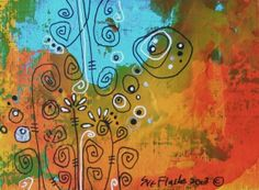 PAF Pennyfest ACEO Original Hand Painted 2013 - Abstract no 6 by Sue Flask