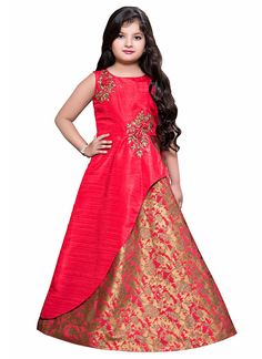 Buy Pink Art Silk Girls Gown online from the wide collection of girls-gown. This Pink colored girls-gown in Art Silk fabric goes well with any occasion. Shop online Designer girls-gown from cbazaar at the lowest price.