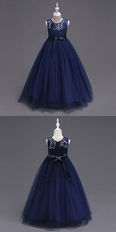 Shop Princess A-line Navy Blue Cheap Flower Girl Dress With Lace Bodice online. Princess Flower Girl Dresses, Cheap Flower Girl Dresses, Cheap Maxi Dresses, Little Girl Dresses, Girls Dresses, Flower Girls, Inexpensive Bridesmaid Dresses, Affordable Prom Dresses, Kids Dress Wear