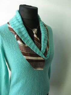 Upcycled Sweater / Sea Foam Green Vneck Sweater detailed with a Man's Necktie / Mini Necktie Necklace / Women Tops / Upcycled Clothing