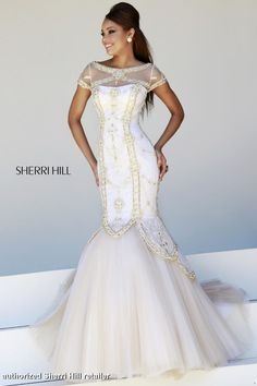 Sherri Hill Prom Dress 21369 - A pageant worthy mermaid gown with beautiful gold beading and high neckline.  QueensChoice.com