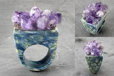 Raw Gemstone Jewelry, Amethyst Jewelry, Resin Jewelry, Purple Rings, Wood Resin, Raw Gemstones, Wood Rings, Resin Pendant, Amethyst Crystal