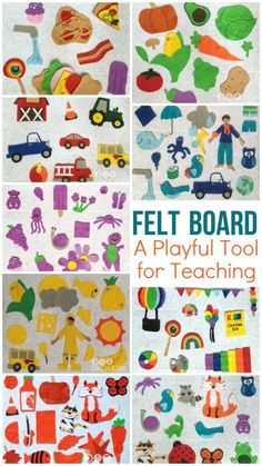 This felt board has a little bit of everything and is always being updated! Cars, trucks, food, colors, animals, sea life, weather, puzzles, faces, outfits, and more! It's such a cheap and great tool for teaching your toddler or kid any topic! Hours of fun! http://diyanddinosaurs.com