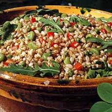 Farro Salad with Peas, Favas, Arugula and Tomatoes