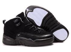 46b4ad77b827 Children Air Jordan 12 Black Side White Sole Shoes