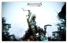 """A great Assassin's Creed III poster! Connor and the Patriots of the Revolution battle the sinister Templars in the """"revolutionary"""" video game. Assassin's Creed 3, Video Game Posters, Video Game Characters, Video Games, Pc Games, Assassin's Creed Wallpaper, Hd Wallpaper, Computer Wallpaper, Game Assassins Creed"""