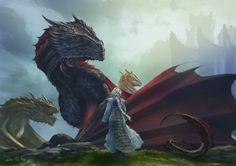 Daenerys, Drogon, Viserion & Rhaegal at Dragonstone