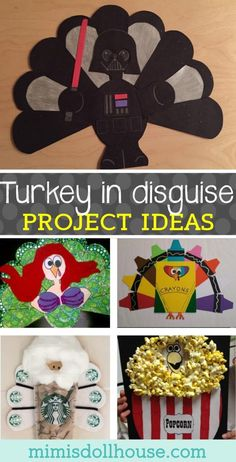 Thanksgiving: Turkey in Disguise School Project. Today I m sharing some fun turkey disguise ideas to do with your little ones. These are perfect for Thanksgiving school projects or just hanging out at home crafting with your kiddos. via mimisdollhouse Thanksgiving Art, Thanksgiving Crafts For Kids, Thanksgiving Activities, Fall Crafts, Holiday Crafts, Diy Turkey Crafts, Thanksgiving Crafts For Kindergarten, Fun Crafts For Kids, Kids Diy