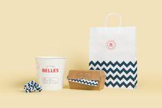 "Branding for Belles Hot Chicken by Erica Boucher""Belles Hot. Adobe Indesign, Adobe Photoshop, Cookie Packaging, Brand Packaging, Packaging Design, Branding Design, Food Branding, Restaurant Branding, Restaurant Design"
