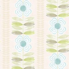 2535-20673 Blue Modern Floral Stripe - Flora - Simple Space 2 Wallpaper By Beacon House