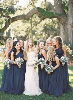 Elegant Florida Wedding Navy Bridesmaidsbride And Bridesmaid Picturesnavy Blue Dressesbridesmaid