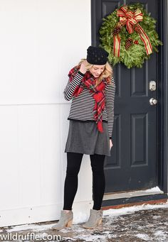 Black and white outfit with a pop of plaid.