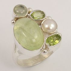 925 Sterling Silver Jewelry Ring Size US 7 Natural PREHNITE & Other Gemstones #Unbranded