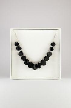 Black Siula necklace by Oikku Design. Leather Necklace, Reindeer, Handmade, Black, Jewelry, Design, Fashion, Leather Collar, Moda