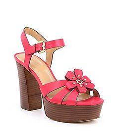 38bb9be4f556 MICHAEL Michael Kors Tara Floral Applique Block Heel Platform Dress Sandals  Women s Shoes Sandals