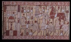 Drawing of the other half of the tapestry from Oseberg. Kulturhistorisk museum, Oslo.