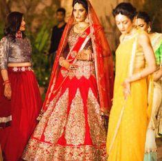 Manish Malhotra red bridal lehenga choli. $2,600