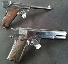 1904 Luger & 1911 Colt from the original 1911 pistol trials