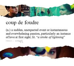 """Coup de foudre (n.) A sudden, unexpected event or instantaneous and overwhelming passion, particularly an instance or love at first sight; """"A stroke of lightning"""". Unusual Words, Weird Words, Rare Words, Unique Words, Cool Words, Words To Use, New Words, Most Beautiful Words, I Cant Sleep"""