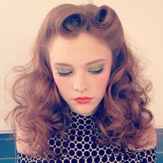 Soft lovely curls and seventies makeup