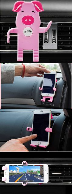 Universal Silicone Pig Stand Car Holder For IphoneiPhone 7/7 Plus/6/6 Plus/6S/6S Plus Car Air Vent Mount Holder GPS Accessories Stand For Cell Phone
