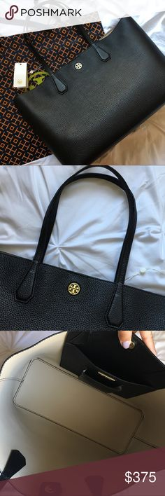 """🆕 Tory Burch Perry Tote Brand New, Never Used, Authentic Tory Burch Purse Black with beige interior No dust bag included  Details from Tory Burch website:  * Holds a 15"""" laptop, a pair of flats, a sweater, a continental wallet, a notebook, an agenda, sunglasses,an iPhone 6 Plus and a fragrance rollerball * Pebbled leather with resin backing * Open tote * Flat handles with 9.4"""" (24 cm) drop * 1 interior hanging pocket with 2 open pockets * Height: 11.3"""" (28.5 cm) * Length: 14.7"""" (37 cm)…"""