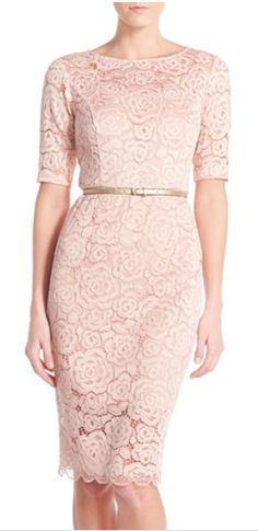 Belted lace sheath dress