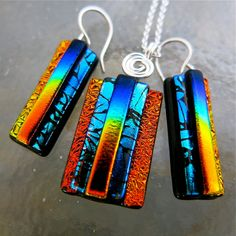 Unique 3D Dichroic Glass Earring and Small by UniqueDichroic, $30.00
