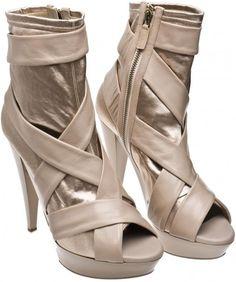 Burberry Prorsum Peep-toe Satin and Leather Boots, £495.00