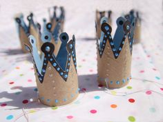 Toilet paper roll birthday crowns.