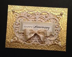 Fancy Gold Anniversary Card with Metallic and Pearlized Anna Griffin Papers