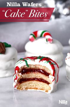 """We call these Nilla Wafers """"Cake"""" Bites! They are miniature """"cakes"""" made of Nilla Wafers and jam, coated in melted chocolate or candy coating. Perfect for holiday parties. Guests will love the creativity!"""