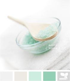 minty tints - i love a monochromatic color scheme.  if you can't beat the mint, just join it.  could be soothing with a deeper tint to ground it and some nice cool gray.
