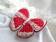 Textile Brooch Butterfly. Natural Pearl. Red Polka Dot Lace Brooch. Shabby Chic Brooch.Fiber Art Pin. Gift for Mom. Felt Brooch. by SvitLoShop on Etsy