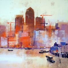 Limehouse Reach by Colin Ruffell..  Canary Wharf in afternoon sunlight.