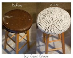 Recovering my bar stools. Crochet hats!