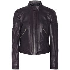 McQ Alexander McQueen Leather biker jacket ($540) ❤ liked on Polyvore featuring outerwear, jackets, purple, moto jacket, purple biker jacket, real leather jacket, leather jacket and quilted jacket