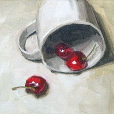 WHITE CUP WITH CHERRIES FROM FINNELL FINE ART. Beautiful composition using kitchen items. Fun!
