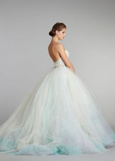 Tulle wedding dress. The tinge of blue at the bottom is so pretty!! But I would prefer if it had mint green instead of blue