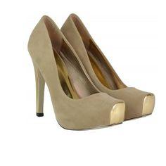 Toe Cap Concealed Platform High Heel Shoe's Beige Platform High Heels, Peep Toe, Shoes Heels, Footwear, Cap, Beige, Fashion, Baseball Hat, Moda
