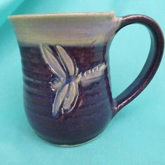Purple Dragonfly 3D One of Kind Coffee Mug Artisan Crafted Art Pottery 20 oz
