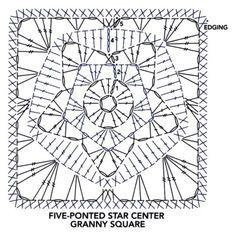 Granny Square pattern / 별모양 그래니 사각모티브 무료도안 : 네이버 블로그