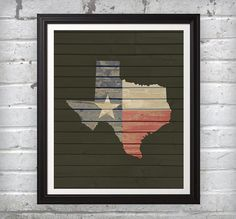 State of Texas with Texas flag inside on rustic and distressed wood background. ($9.99)