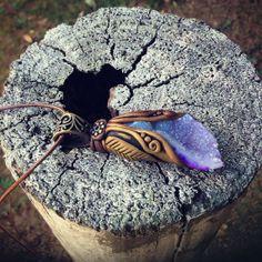 Little Purple Druzy Cave Necklace  OOAK  Handcrafted  by TRaewyn,