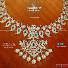 Code: For More Details Call Us on Store Address: Mangatrai @ Hitech City , Beside Avasa Hotel , Hyderabad. Old Jewelry, Trendy Jewelry, Indian Jewelry, Jewelry Sets, Nizam Jewellery, Temple Jewellery, Diamond Jewellery, Jewelry Design Earrings, Jewellery Designs